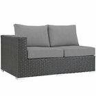 Modway Sojourn Outdoor Patio Wicker Rattan Sunbrella® Left Arm Loveseat in Canvas Gray MY-EEI-1858-CHC-GRY