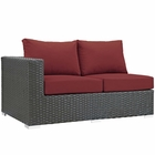 Modway Sojourn Outdoor Patio Wicker Rattan Sunbrella® Left Arm Loveseat in Canvas Red MY-EEI-1858-CHC-RED