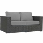 Modway Sojourn Outdoor Patio Wicker Rattan Sunbrella® Loveseat in Canvas Gray MY-EEI-1851-CHC-GRY