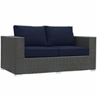 Modway Sojourn Outdoor Patio Wicker Rattan Sunbrella® Loveseat in Canvas Navy MY-EEI-1851-CHC-NAV