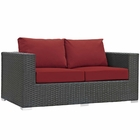 Modway Sojourn Outdoor Patio Wicker Rattan Sunbrella® Loveseat in Canvas Red MY-EEI-1851-CHC-RED
