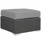 Modway Sojourn Outdoor Patio Wicker Rattan Sunbrella® Ottoman in Canvas Gray MY-EEI-1855-CHC-GRY