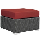Modway Sojourn Outdoor Patio Wicker Rattan Sunbrella® Ottoman in Canvas Red MY-EEI-1855-CHC-RED