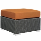Modway Sojourn Outdoor Patio Wicker Rattan Sunbrella® Ottoman in Canvas Tuscan MY-EEI-1855-CHC-TUS