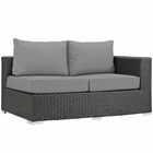 Modway Sojourn Outdoor Patio Wicker Rattan Sunbrella® Right Arm Loveseat in Canvas Gray MY-EEI-1857-CHC-GRY