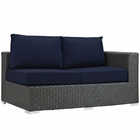 Modway Sojourn Outdoor Patio Wicker Rattan Sunbrella® Right Arm Loveseat in Canvas Navy MY-EEI-1857-CHC-NAV