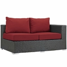 Modway Sojourn Outdoor Patio Wicker Rattan Sunbrella® Right Arm Loveseat in Canvas Red MY-EEI-1857-CHC-RED