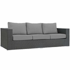 Modway Sojourn Outdoor Patio Wicker Rattan Sunbrella® Sofa in Canvas Gray MY-EEI-1860-CHC-GRY