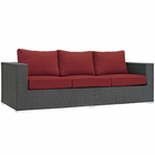 Modway Sojourn Outdoor Patio Wicker Rattan Sunbrella® Sofa in Canvas Red MY-EEI-1860-CHC-RED