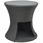 Modway Sojourn Round Outdoor Patio Wicker Rattan Side Table in Chocolate MY-EEI-1980-CHC