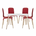 Modway Stack Dining Chairs and Table Wood Set of 5 in Red MY-EEI-1375-RED
