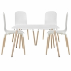 Modway Stack Dining Chairs and Table Wood Set of 5 in White MY-EEI-1375-WHI