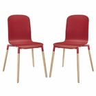 Modway Stack Dining Chairs Wood Set of 2 in Red MY-EEI-1372-RED