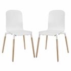 Modway Stack Dining Chairs Wood Set of 2 in White MY-EEI-1372-WHI