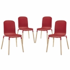 Modway Stack Dining Chairs Wood Set of 4 in Red MY-EEI-1373-RED