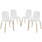 Modway Stack Dining Chairs Wood Set of 4 in White MY-EEI-1373-WHI