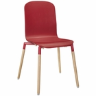Modway Stack Dining Wood Side Chair in Red MY-EEI-1054-RED