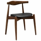 Modway Stalwart Dining Beech Wood Side Chair in Dark Walnut Black MY-EEI-1080-DWL-BLK