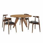 Modway Stalwart Dining Chairs and Table Wood Set of 5 in Dark Walnut Black MY-EEI-1379-WAL-DWL-BLK