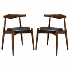 Modway Stalwart Dining Side Chairs Wood Set of 2 in Dark Walnut Black MY-EEI-1377-DWL-BLK