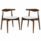 Modway Stalwart Dining Side Chairs Wood Set of 2 in Dark Walnut White MY-EEI-1377-DWL-WHI