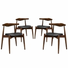 Modway Stalwart Dining Side Chairs Wood Set of 4 in Dark Walnut Black MY-EEI-1378-DWL-BLK