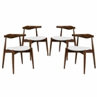Modway Stalwart Dining Side Chairs Wood Set of 4 in Dark Walnut White MY-EEI-1378-DWL-WHI