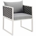 Modway Stance Outdoor Patio Aluminum Dining Armchair in White Gray MY-EEI-3053-WHI-GRY