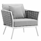 Modway Stance Outdoor Patio Aluminum Dining Armchair in White Gray MY-EEI-3054-WHI-GRY