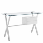 Modway Stasis Stainless Steel Office Desk in White MY-EEI-1181-WHI
