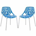 Modway Stencil Dining Side Chair Set of 2 in Blue MY-EEI-1317-BLU
