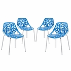 Modway Stencil Dining Side Chair Set of 4 in Blue MY-EEI-1318-BLU