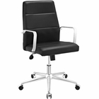 Modway Stride Mid Back Faux Leather Office Chair in Black MY-EEI-2121-BLK
