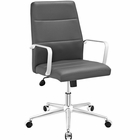 Modway Stride Mid Back Faux Leather Office Chair in Gray MY-EEI-2121-GRY