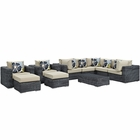 Modway Summon 10 Piece Outdoor Patio Wicker Rattan Sunbrella® Sectional Set in Canvas Antique Beige MY-EEI-2396-GRY-BEI-SET