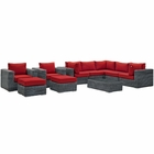 Modway Summon 10 Piece Outdoor Patio Wicker Rattan Sunbrella® Sectional Set in Canvas Gray MY-EEI-1902-GRY-RED-SET