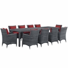 Modway Summon 11 Piece Outdoor Patio Wicker Rattan Sunbrella® Fabric Dining Set in Canvas Red MY-EEI-2332-GRY-RED-SET