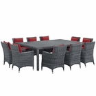 Modway Summon 11 Piece Outdoor Patio Wicker Rattan Sunbrella® Fabric Dining Set in Canvas Red MY-EEI-2333-GRY-RED-SET