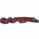 Modway Summon 11 Piece Outdoor Patio Wicker Rattan Sunbrella® Sectional Set in Canvas Gray MY-EEI-1899-GRY-RED-SET