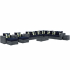 Modway Summon 11 Piece Outdoor Patio Wicker Rattan Sunbrella® Sectional Set in Canvas Navy MY-EEI-2394-GRY-NAV-SET
