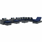 Modway Summon 12 Piece Outdoor Patio Wicker Rattan Sunbrella® Sectional Set in Canvas Navy MY-EEI-2393-GRY-NAV-SET