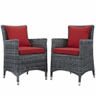 Modway Summon 2 Piece Outdoor Patio Wicker Rattan Sunbrella® Fabric Dining Set in Canvas Red MY-EEI-2313-GRY-RED-SET