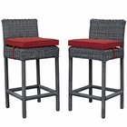 Modway Summon 2 Piece Outdoor Patio Wicker Rattan Sunbrella® Fabric Pub Set in Canvas Red MY-EEI-2197-GRY-RED-SET