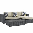 Modway Summon 3 Piece Outdoor Patio Wicker Rattan Sunbrella® Sectional Set in Canvas Antique Beige MY-EEI-2397-GRY-BEI-SET