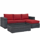 Modway Summon 3 Piece Outdoor Patio Wicker Rattan Sunbrella® Sectional Set in Canvas Gray MY-EEI-1903-GRY-RED-SET