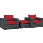 Modway Summon 3 Piece Outdoor Patio Wicker Rattan Sunbrella® Sectional Set in Canvas Gray MY-EEI-1905-GRY-RED-SET