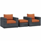Modway Summon 3 Piece Outdoor Patio Wicker Rattan Sunbrella® Sectional Set in Canvas Tuscan MY-EEI-1905-GRY-TUS-SET