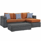Modway Summon 3 Piece Outdoor Patio Wicker Rattan Sunbrella® Sectional Set in Canvas Tuscan MY-EEI-2397-GRY-TUS-SET
