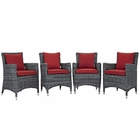 Modway Summon 4 Piece Outdoor Patio Wicker Rattan Sunbrella® Fabric Dining Set in Canvas Red MY-EEI-2314-GRY-RED-SET