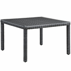 """Modway Summon 47"""" Square Outdoor Patio Wicker Rattan Dining Table in Gray MY-EEI-1936-GRY"""